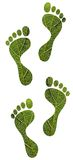 Save nature concept - green leaf human footprints Royalty Free Stock Image