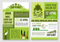 Save nature and earth protection vector templates Royalty Free Stock Photos