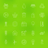 Save the Nature Eco Line Icons Set over Blurred Background Royalty Free Stock Photo