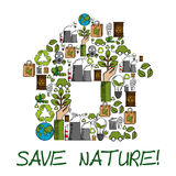 Save Nature ecology environment protection label Stock Image