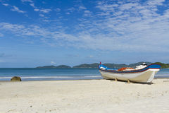 Save nature. Fishing boat on the sand Royalty Free Stock Photos