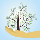 Illustration of a hand and tree. Save nature human hand holding tree against blue background, Ecology and Earth day concept royalty free illustration