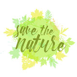 Save the nature lettering hand drawn. Royalty Free Stock Photos