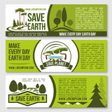 Save nature planet earth protection vector banners Stock Photos