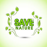Save nature text with green leaves. Royalty Free Stock Photos