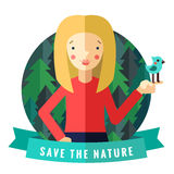 Save the nature vector card and background with blonde girl, bird, blue ribbon and forest Royalty Free Stock Image