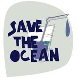Save the Ocean. Illustration on plastic pollution problem. Concept of eco-friendly living stock illustration