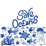 Save the Ocean. Hand drawn lettering and underwater animals. Jellyfishes, whales, octopus, starfishes and turtles. Vector illustration in doodle style. Protect vector illustration