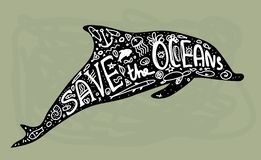 Save ocean. Whale, dolphin, sea, ocean. Black text, calligraphy, lettering, doodle by hand on grey. Pollution problem concept Eco vector illustration