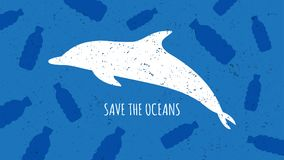 Save the oceans vector illustration. Plastic garbage bottles and dolphin silhouette in the ocean graphic design. Water waste problem creative concept Stock Images