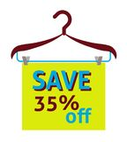 Save 35% off label, flat vector illustration. For graphic and web design Stock Photo