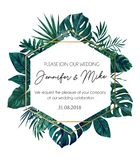 Save our date wedding invitation design. Elegance template for e. Ngagement or wedding with gold lines, tropical leaves and white background. Vector illustration royalty free illustration