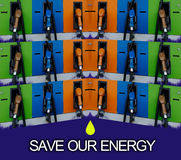 Save our energy. Colorful save our energy, use as background stock photo