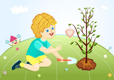 Save our green planet - boy planting love tree. Raster illustration, vector file saved as EPS AI8 also available Royalty Free Stock Image