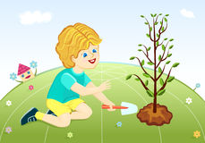 Save our green planet - boy planting tree. Save our green planet - cute boy planting tree. Raster illustration, vector file saved as EPS AI8 also available Stock Photography