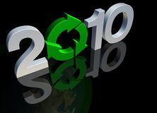 Save our planet in 2010. Royalty Free Stock Image of a 3D render of the word 2010 in green and chrome against black reflective background to provide copy space Royalty Free Stock Images