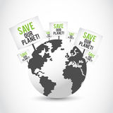 Save Our Planet Banners On Earth Design Stock Photo