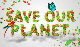 Save Our Planet leaves particles 3D. Digital art Royalty Free Stock Photography