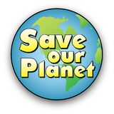 Save our Planet text over the Earth Stock Photography
