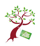 Save our plantet tag on tree Royalty Free Stock Photography