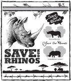 Save our Rhinos. Design with rhino elements, thorns and barbed wire and message saying Save Our Rhinos. Two colour print Royalty Free Stock Image