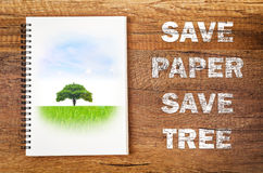 Save paper Save tree concept. Stock Photography