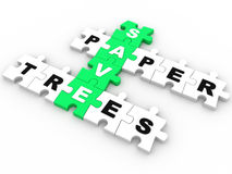 Save Paper, Save Trees puzzle crossword Stock Image
