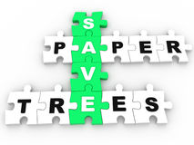 Save Paper, Save Trees puzzle crossword Royalty Free Stock Photography