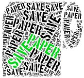 Save paper. Word cloud illustration. Stock Photos