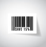 Save 15 percentage illustration design. Over a white background Royalty Free Stock Photo