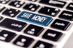 Save pieniądze dla inwestorskiego pojęcia z guzikiem na komputerowym kluczu Obraz Stock