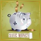 Save pieniądze gotówkowej świni ilustracja wektor