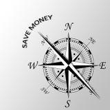 save pieniądze pisać na boku kompas Zdjęcie Stock
