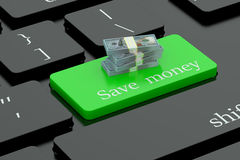 Save pieniądze na klawiaturowym guziku Obrazy Stock