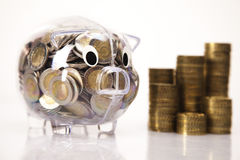 Save and pig bank Royalty Free Stock Images