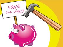Save the piggy. Piggy at risk. Protects your finances. Save but does not waste Stock Illustration