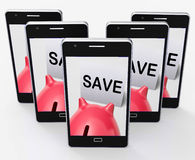 Save Piggy Bank Phone Shows Product Discounts And Bargains Royalty Free Stock Image