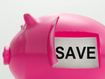 Save Piggy Bank Shows Savings On Products Royalty Free Stock Photography