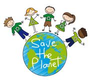 Save the planet. Children�s over planet over white background, recycle.vector vector illustration
