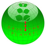 Save the planet. Icon with globe and bleeding leaves Stock Images