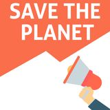 SAVE THE PLANET Announcement. Hand Holding Megaphone With Speech Bubble stock illustration