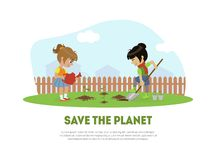 Save the Planet Banner Template with Cute Girl and Boy Volunteers Planting Tree in Garden Vector Illustration. Web Design stock illustration