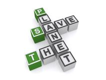 Save the planet crossword. 3d graphic of the phrase, Save the planet arranged in crossword style with cube or block letters Stock Photos
