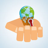 Save planet design. ecology icon. Think green concept Royalty Free Stock Photos