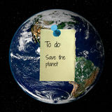 Save the Planet. The Earth (image courtesy of NASA) with a pinned paper, which reads: To Do: Save the Planet stock image