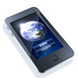 Save planet earth. Smartphone on white background Royalty Free Stock Images