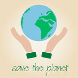 Save the planet Earth symbol globe and human hands eps10 Royalty Free Stock Photo
