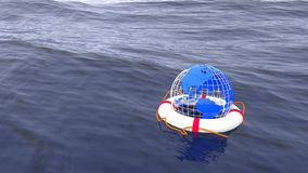 Save the planet environmental globe ocean concept Royalty Free Stock Image
