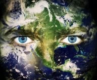 Save the planet - Eyes of Earth. Environment concept: Eyes of planet Earth Stock Photos