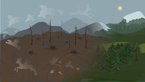 The souls of animals run away from the dried up forest stock illustration